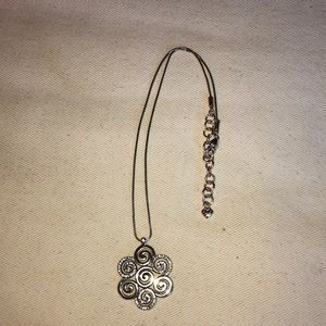 """Brighton Silver Necklace with Crystal Pendant 16"""""""